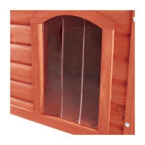 Kunststoffschutztür für die Natura Flachdach Hundehütte. Die Schutztür schützt den Hund vor Wind